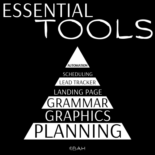 BAH graphic showing a picture a pyramid chart of the essentials tools needed to dominate your Facebook ads.