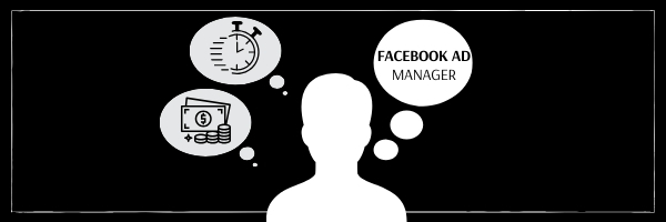 BAH blog graphic   graphic of a person and three speech bubbles thinking about a Facebook ad manager