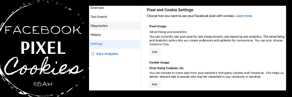 Picture of screenshot of the Pixel and Cookie Settings.